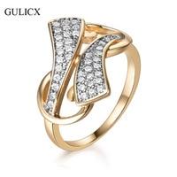 GULICX Charm Unique Design Women CZ Stones Engagement Wedding Rings Set Gold Color Fashion Famous Brand