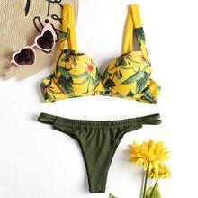 Купить с кэшбэком Sexy Ladies Jungle Print Tropical Beach Thong String Bikini Set Swimwear Women Bikinis Feminino 2019 Push Up Biquini Swimsuit