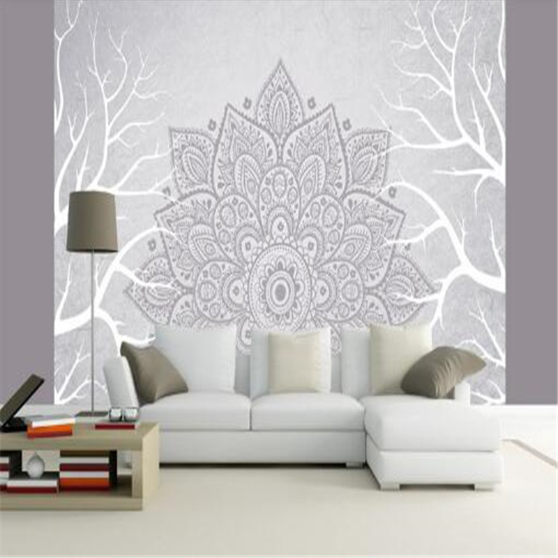 Modern Damask Wallpapers Home Decor Flowers Wall Papers for Walls 3D Custom Photo Murals for Living Room White Trees Geometric цена