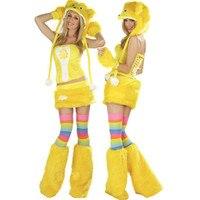 High Quality Girl Yellow Panda Costume Animal Fur Bear Cosplay Carnival Party Dress Costume