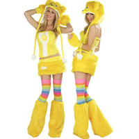 High Quality Girl Yellow Panda Costume Animal Fur Bear Cosplay Carnival Party Dress Costume