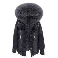 2019 зимняя куртка женская белая джинсовая куртка настоящий большой Лисий меховой воротник с капюшоном кроличий меховой вкладыш Свободная к