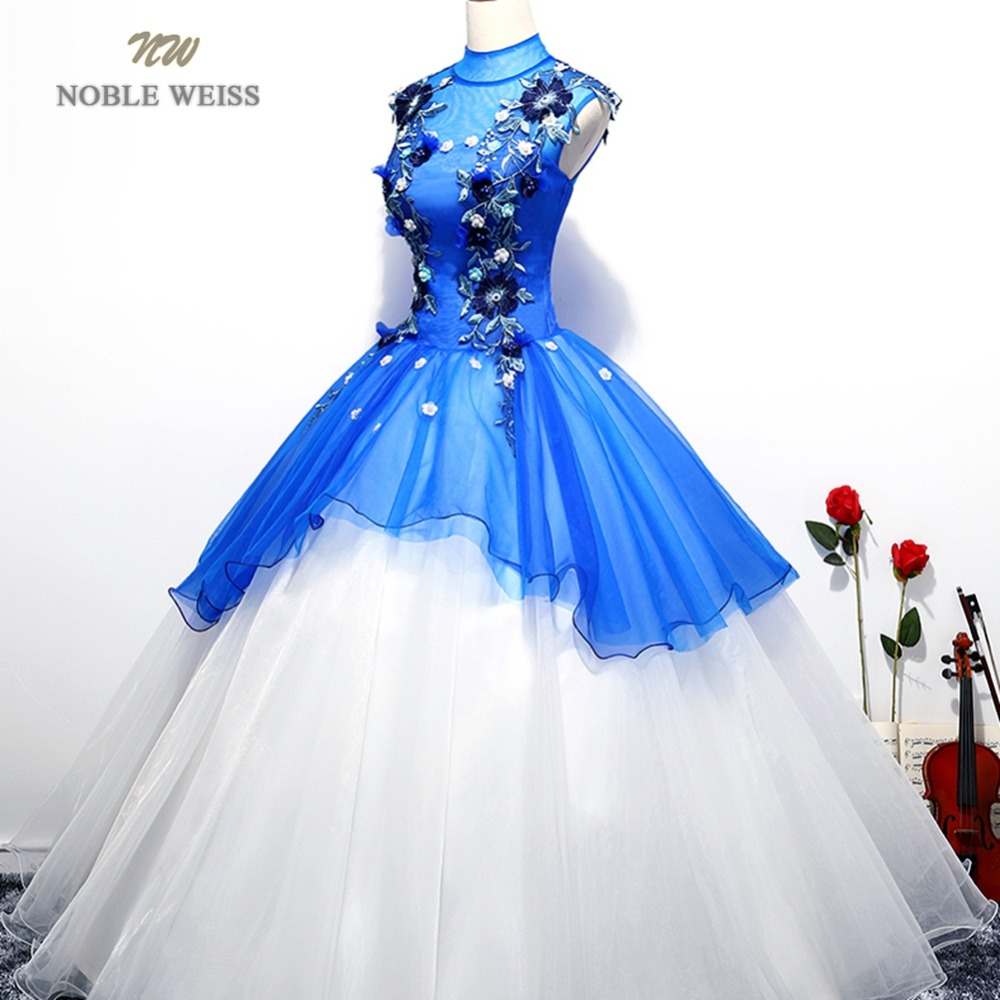 NOBLE WEISS Blue Prom Dresses Flower Appliques Beading Robe De Soiree Ball Gown Sexy New Style Organza Prom Gown