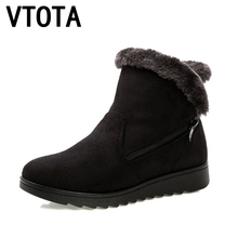 VTOTA Winter Women Ankle Boots Hot Snow Boots 2018 Zip Mother Warm Shoes Fur Female Platform Winter Boots Botas Mujer Black H155