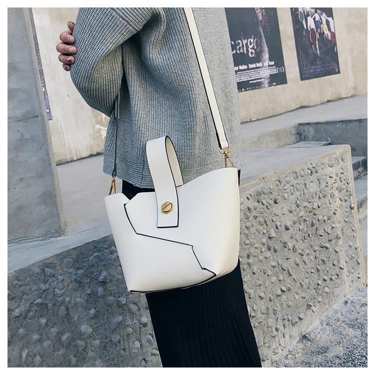 WHITE Vintage Tote Bucket bag PU Leather Handbag Alligator Pattern Shoulder Bag