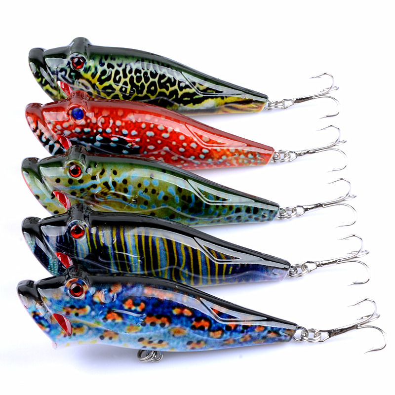 Crankbait top water lure fly fishing flies 8cm 12 4g poper wave ripping water surface is bionic colored Luya bait accessories in Fishing Lures from Sports Entertainment