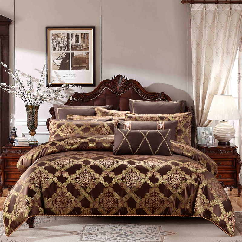 Brown Coffee jacquard Luxury Bedding set cotton stain bed duvet cover king queen size bed sheet