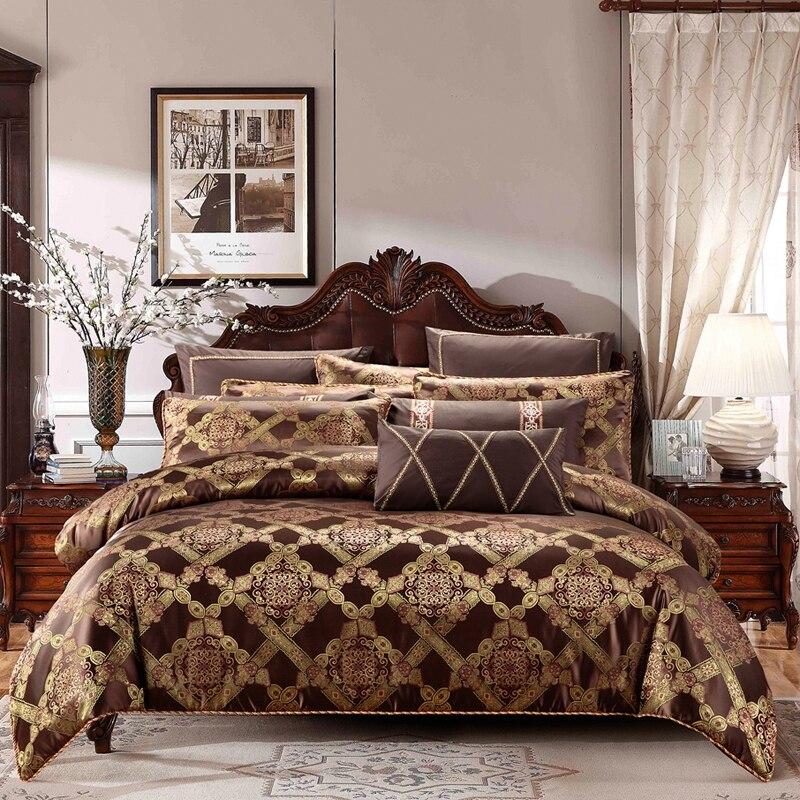 Mancha marrom Café jacquard jogo De cama de Luxo de algodão cama capa de edredão conjunto de folhas de cama juego de cama king size rainha linge de lit
