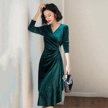 53b992aa44 2019 wiosna zielony aksamit sukienka dla kobiety wieczorne Party sukienki w  stylu Vintage elegancka linia Robe