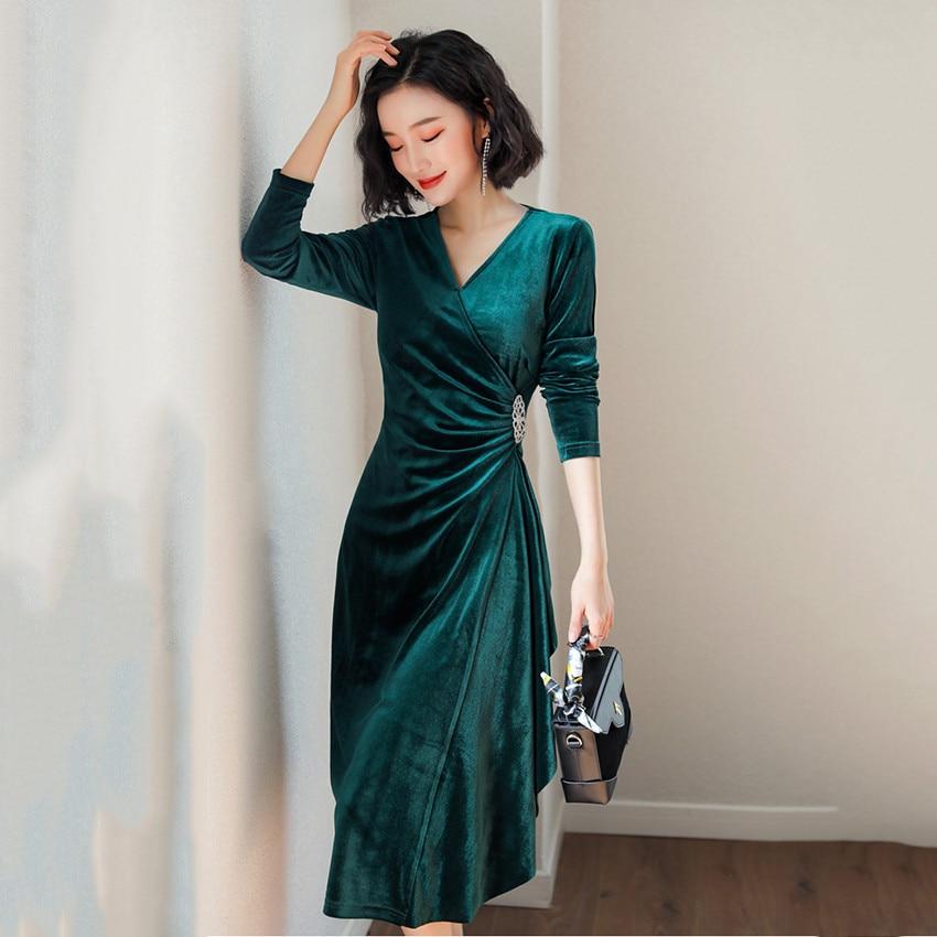 Comprar 2019 Primavera Vestido De Terciopelo Verde Para Las