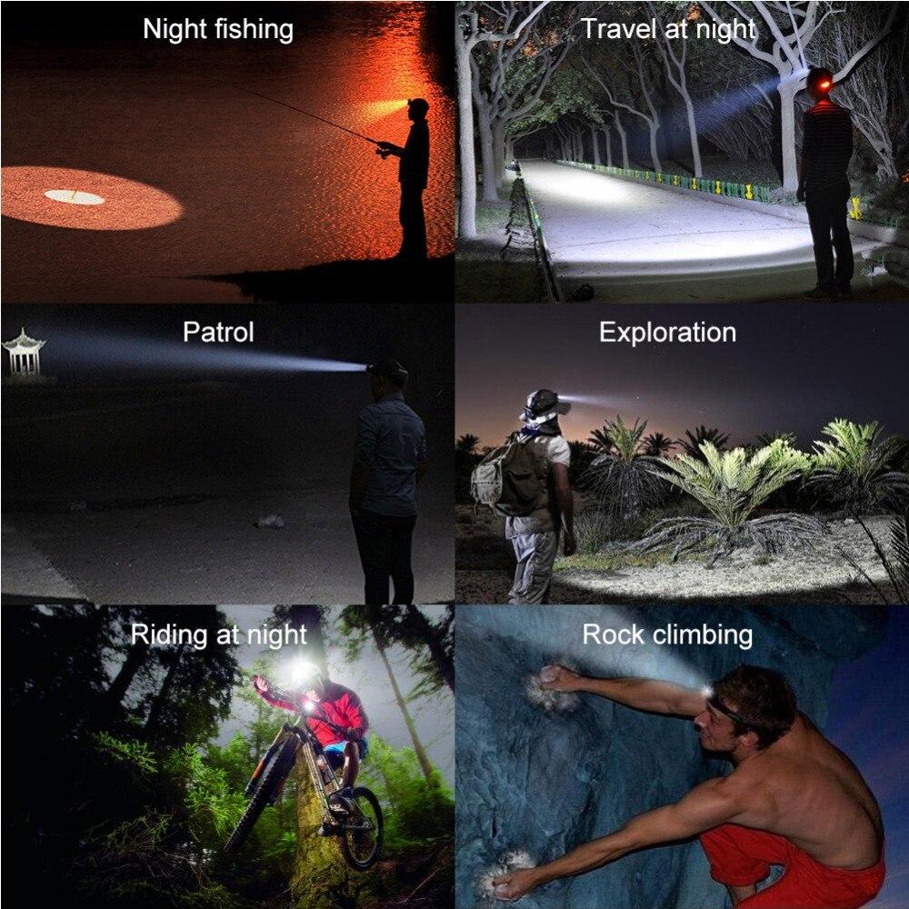 LED Headlamp Red Light Outdoor Headlight 3 LED 3 Modes Waterproof USB Flash Head Lamp Torch Lantern For Hunting  RJ-3000
