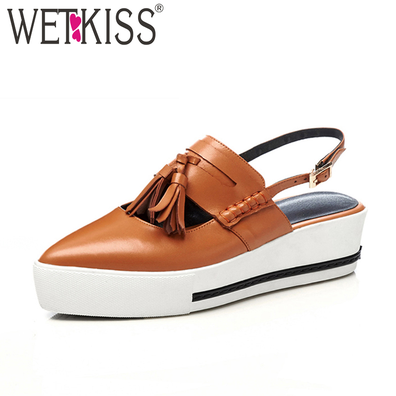 WETKISS Casual High Heeled Women Sandals Pointed Toe Tassel Genuine Leather Footwear 2018 Summer Fashion Girl Platform Shoes wetkiss cow leather casual high heels women sandals metal decoration pointed toe wedges footwear 2018 summer girl platform shoes
