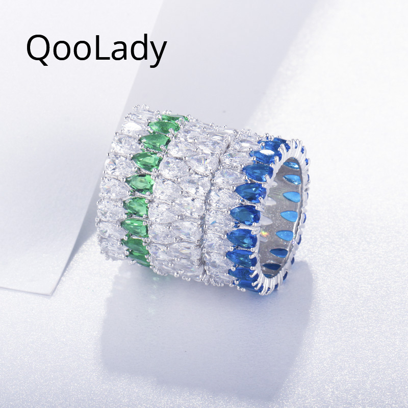 QooLady Sparkly Green Bule Double Rows Water Drop Cubic Zircon Big Round Prom Party Finger Rings for Women CZ Stone Jewelry F002