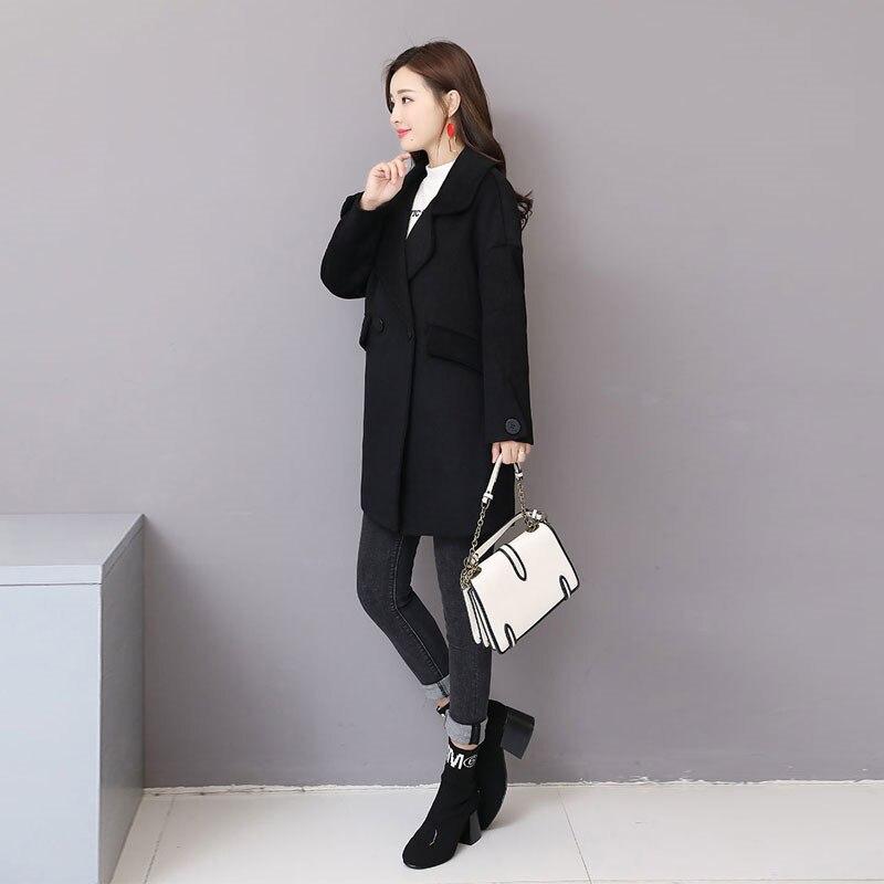Femelle Noir Black Qualité Mince D'hiver De Laine Manteaux Mode Manteau Veste Long Haute Femmes 2018 Poncho X77 Automne CqxvZTwW