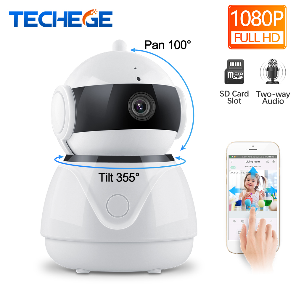 Techege 1080P Wireless IP Camera Two Way Audio Wifi Smart Security 2MP CCTV Camera PT Camara Security Camera SD Card OptionalTechege 1080P Wireless IP Camera Two Way Audio Wifi Smart Security 2MP CCTV Camera PT Camara Security Camera SD Card Optional