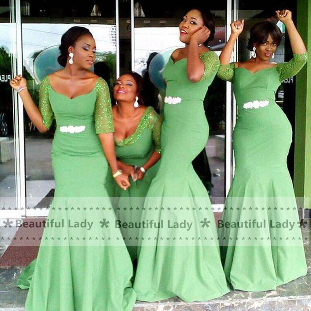 Online get cheap light green bridesmaid dress lace aliexpress elegant light green bridesmaid dress with sleeves 2017 sexy low neckline african wedding party gowns mermaid bridesmaid dress ombrellifo Choice Image