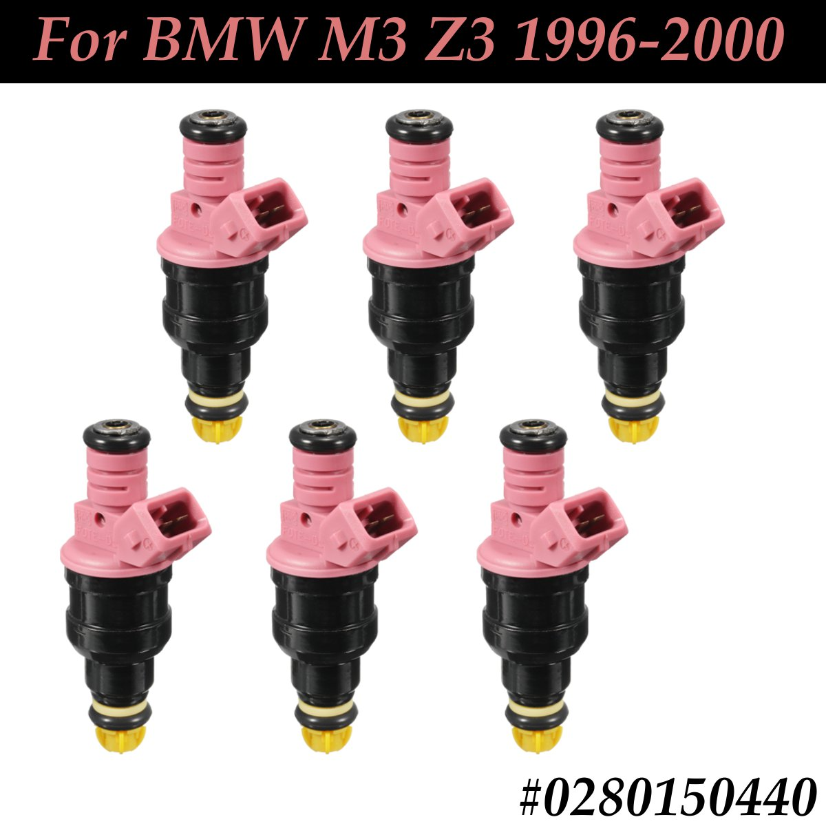 #0280150440 #852-12157 6Pcs New Front Pink Fuel Injector Flow Replacement For BMW M3 Z3 1996 1997 1998 1999 2000#0280150440 #852-12157 6Pcs New Front Pink Fuel Injector Flow Replacement For BMW M3 Z3 1996 1997 1998 1999 2000