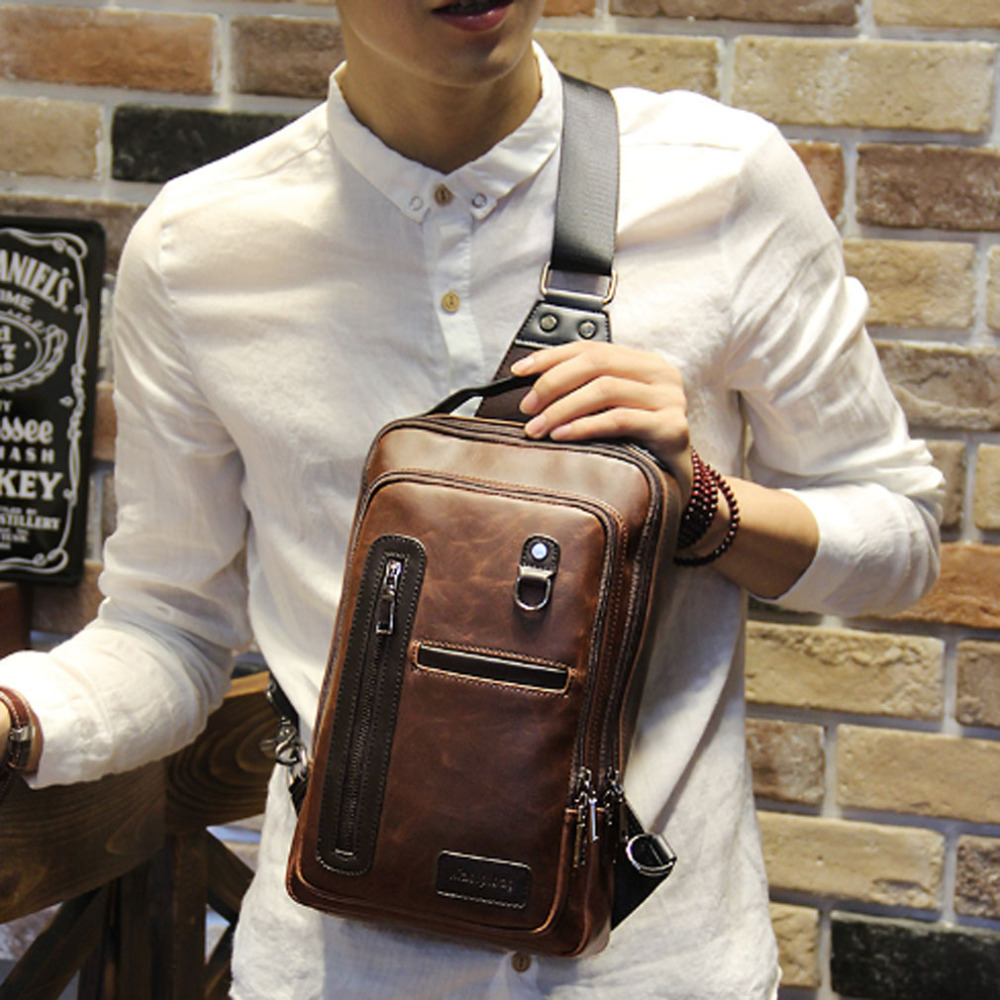 2018 Men's Handbag PU Leather Travel Crossbody Sling Messenger Shoulder Bag Chest Pack Back pack планшет digma plane 1526 4g 10 1