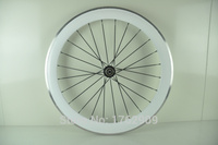 1pair New White Color 700C 60mm Clincher Rim Road Bike 3K Carbon Bicycle Wheelsets With Alloy