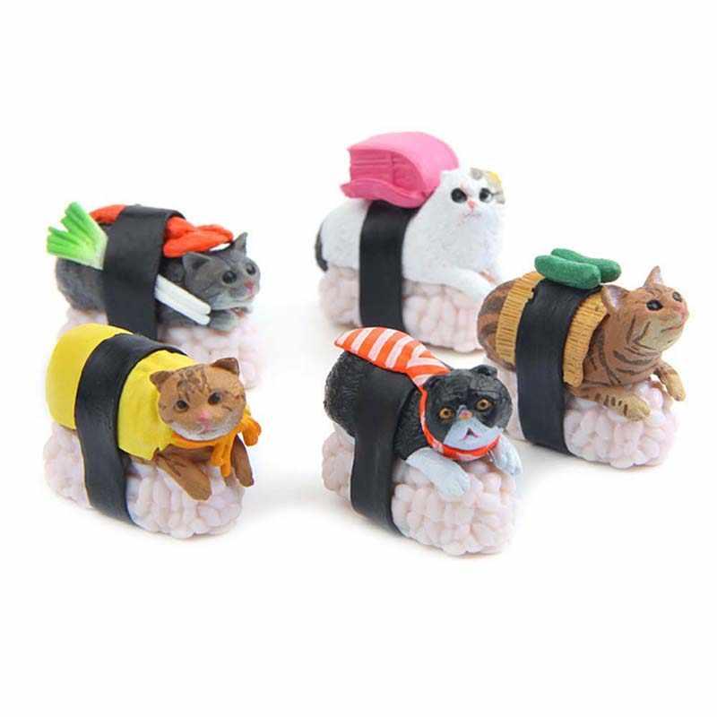 5 sztuk/zestaw realistyczne Sushi kot mikro element dekoracji krajobrazu figurki do zabawy lalki zabawki dla dzieci kreatywne prezenty