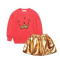 2PCS SLAIXIU Cartoon Cotton Brand Kids Clothing Jacket Skirt For Girls Children Clothes Girls Set Sport