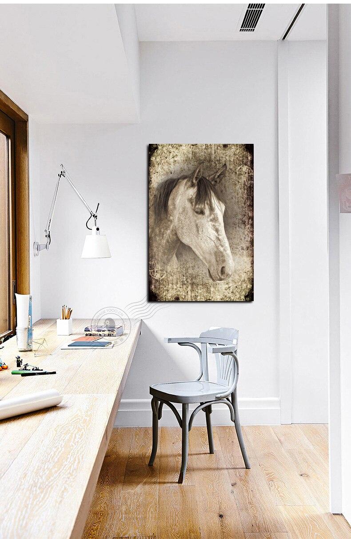 Vintage kůň tisk zvíře plátno malování kůň tvář obrázek černá bílá malba plátno tisk zeď zdobí zvířata
