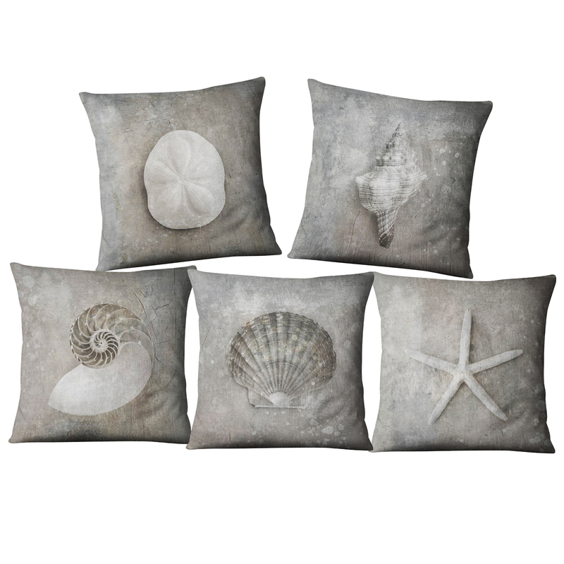 Nautical Anchor Sailor  Shell Starfish Cotton Pillow Cushion Sofa Piaochuang Pad Home Decoration Pillow Cover Cushion Cover