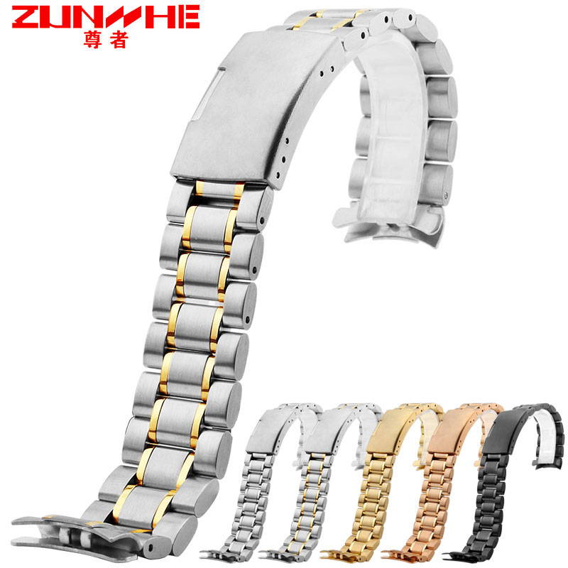 watchband arc edge steel strap arc mouth black steel bracelet metal band 18 20 22 24mm watch band for casio seiko Free tools
