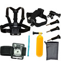 For Gopro accessories 9 in1 kit stick monopod float bobber wrist chest head strap for xiaomi yi sj4000 sj5000 sport camera