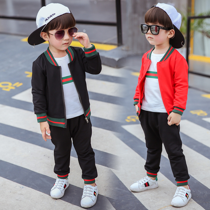 Children 's clothing boy fall suit 2017 autumn new casual long - sleeved cardigan thread jacket three - piece 3 4 5 6 7 8 9 year