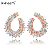 LUOTEEMI 2016 Design Jewelry Women's Cheap Shining Fashion Rose Gold Plated Micro Pave Setting CZ Novel Bar Party Stud Earrings