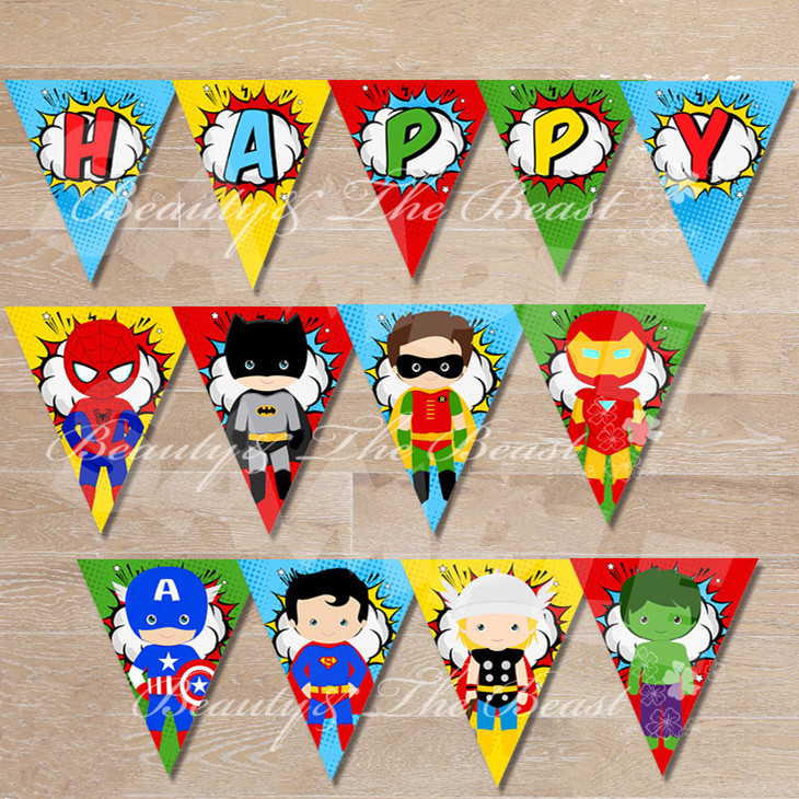 Superhero Banner The Avengers Baby Shower Birthday Party ...