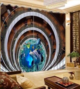 Creative 3D Curtains Window Underwater World Children Bedroom Living Room Curtains Photo Printing Thread Curtain