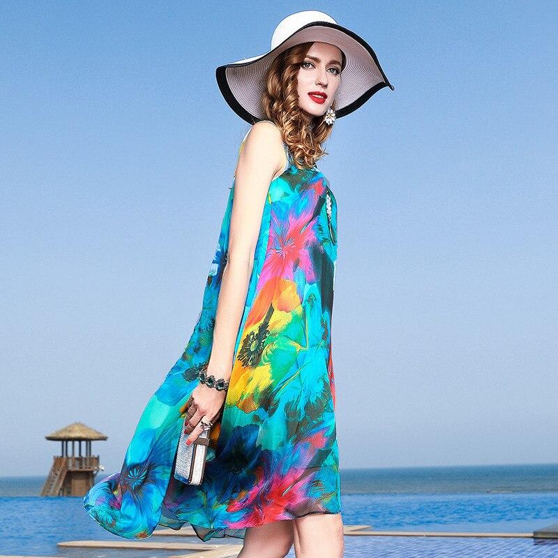 new style f5f72 aa087 Spiaggia Boemia Seta Fiore Floreale Lunghi Primavera Abiti ...