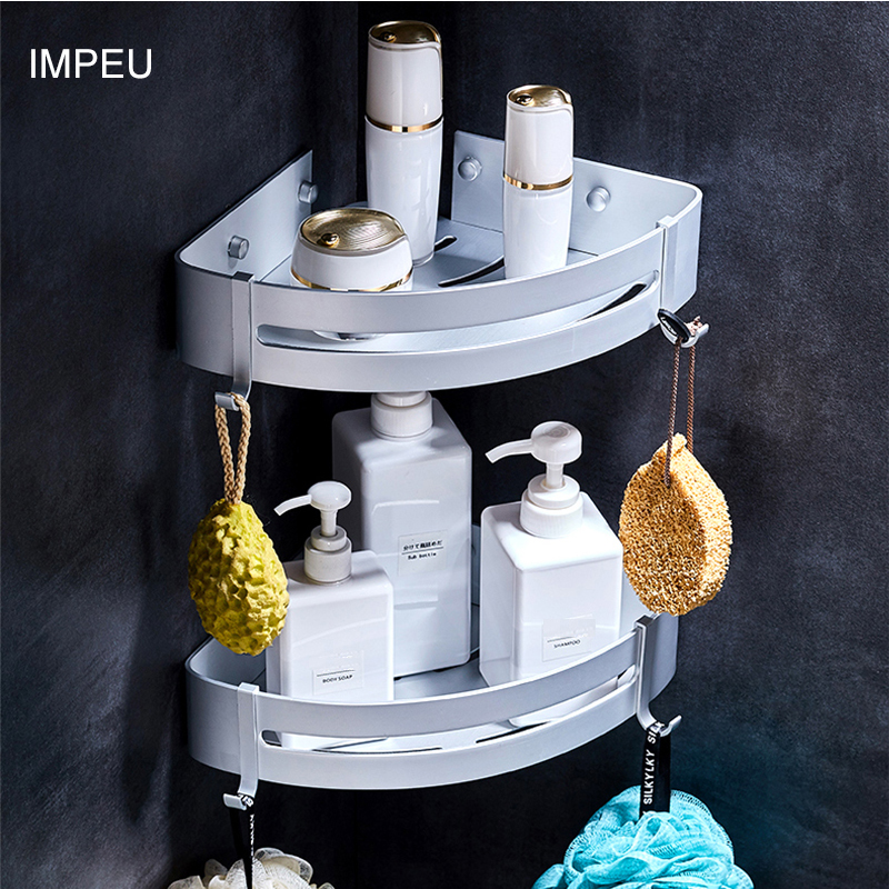 Corner Shelf With Towel Hooks For