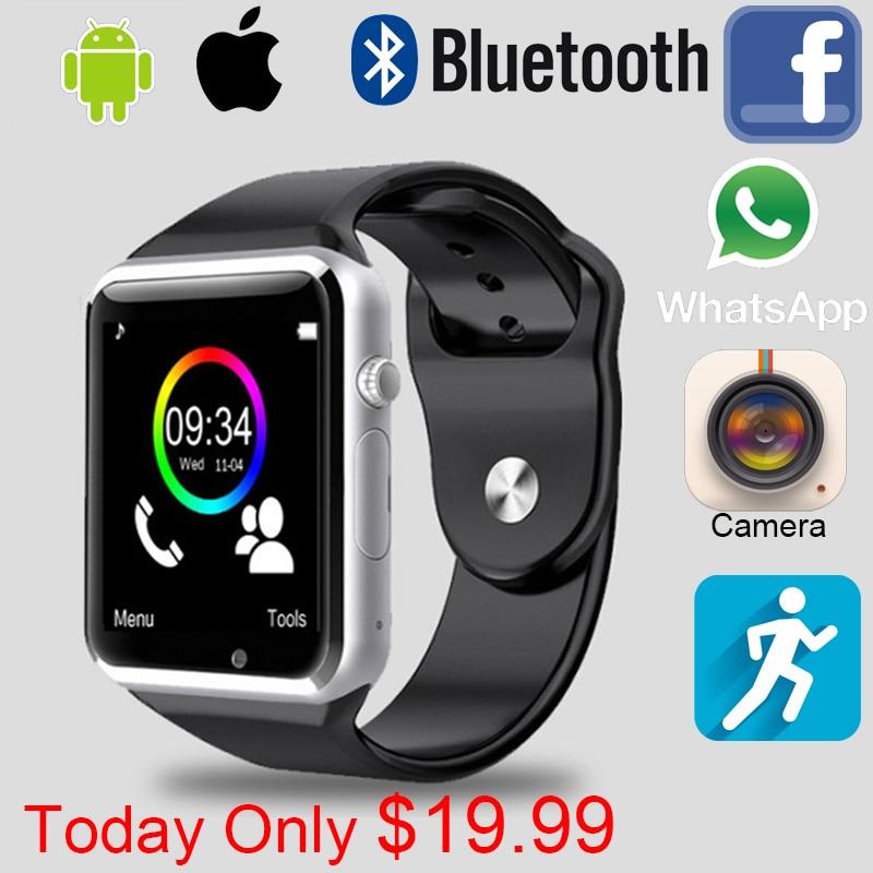 imágenes para 2016 Reloj Inteligente A1 W8 Con Tarjeta Sim Cámara Bluetooth Smartwatch Para Android huawei Wearable Dispositivos de apple ISO Whatsapp Facebook