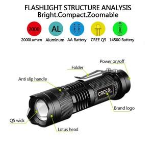Image 3 - Lampes de poche tactiques puissantes lampes de Camping LED portables 3 Modes lanternes de lumière torche Zoomable auto défense 6 pcs/Lot z50