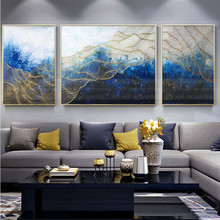 3 pieces decoration for home canvas painting wall art picture living room decor original gold blue acrylic texture
