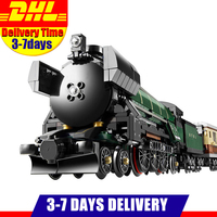 MOC LEPIN 21005 1085Pcs Technic Series Emerald Night Train Model Building Kits Minifigures Block Bricks Children