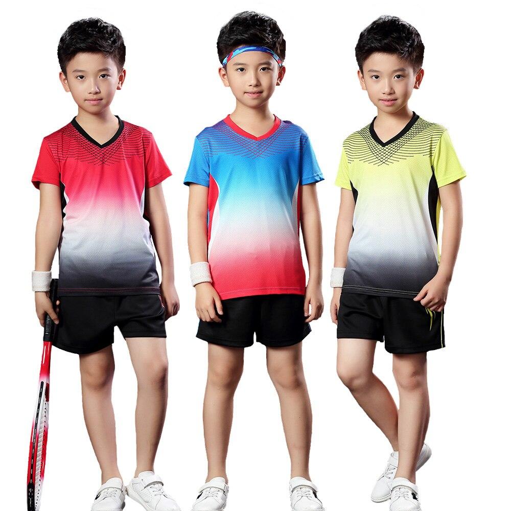 Camisa de Tênis de Mesa Shorts + T-shirt das Crianças Camisa do Tênis Sportswear Respirável