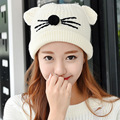 Hot Autumn Winter Knitted Women's Ladies Warm Fleece Lined Soft Nap Cute Cat Whiskers Ears Skullies Toboggans Beanies Hem Hat