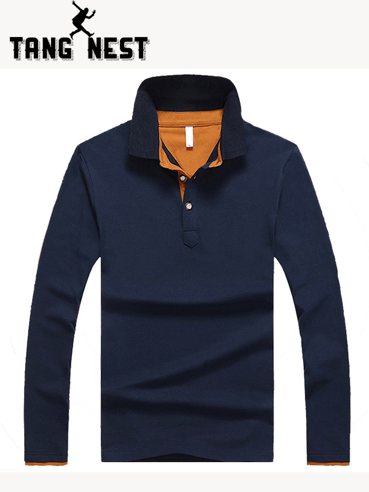 TANGNEST 2019 Hot Sale Long-sleeve   Polo   Shirt Plus 5 Colors Casual Turn-down Collar   Polo   Good Quality   Polo   Shirt Men MTP452