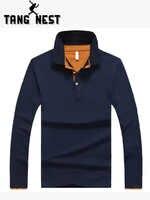 TANGNEST 2019 gran venta camisa Polo de manga larga más 5 colores Casual cuello vuelto Polo de buena calidad camiseta Polo hombre MTP452