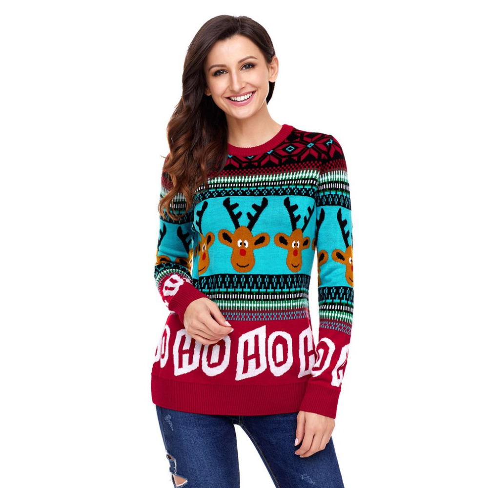 Women Christmas Deer Print Sweaters Female Casual Long Sleeve Autumn O Neck Letter Printed Slim Pullover Sweater Winter Tops Hot