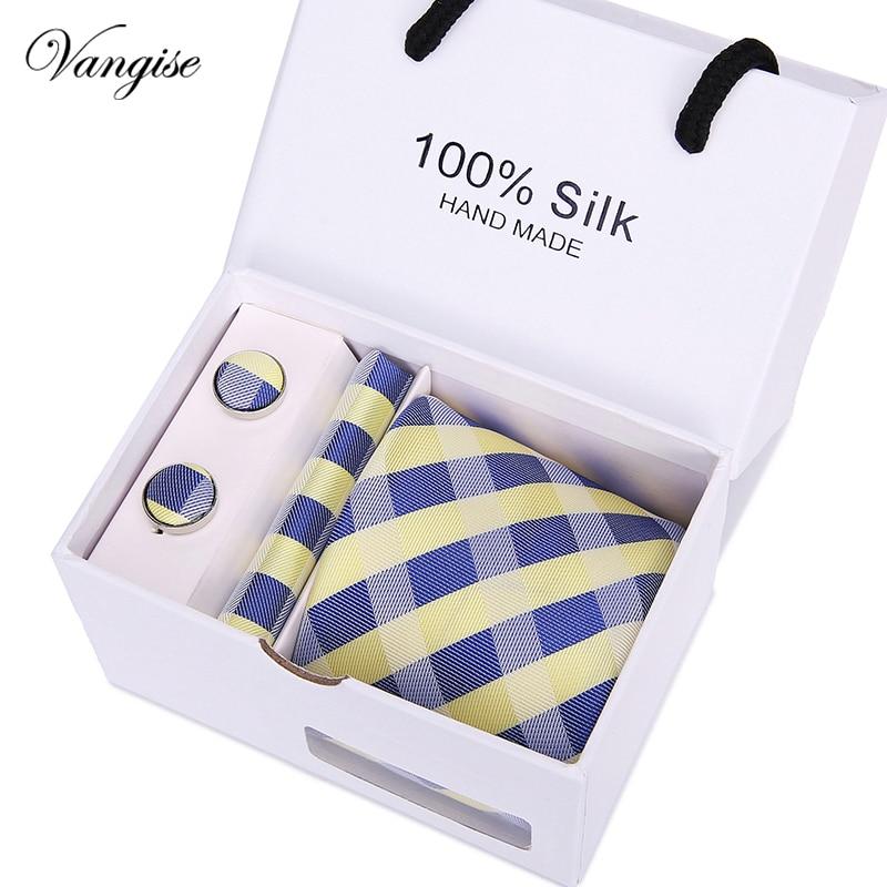 C-1169 2017 Floral corbata de plata blanco Jacquard corbata de seda  bolsillo cuadrado gemelos 87e2db261874