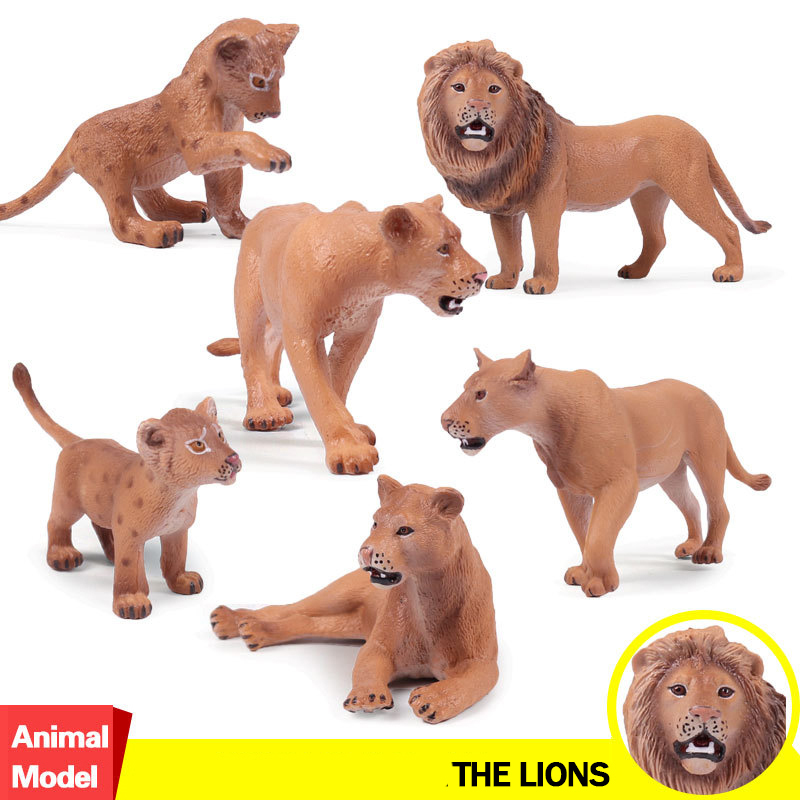 6pcs/set Action&Toy Figure Wildlife Animal The Lions Baby PVC Model Collectible Doll Figure Collection For Kid Children Gift