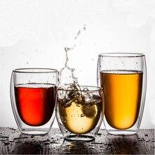 80/250/350/450 мл термостойкая двойная стеклянная чашка пиво кофе чашки ручной работы здоровый напиток чайные кружки прозрачная Питьевая Посуда