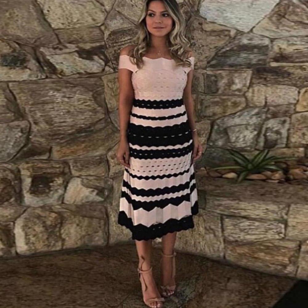 Celebrity Élégant Couleur Robes Nouveau Sexy Patchwork Party Rose 2018 Slash Robe D'été Cou Femmes Bandage H9IEWD2