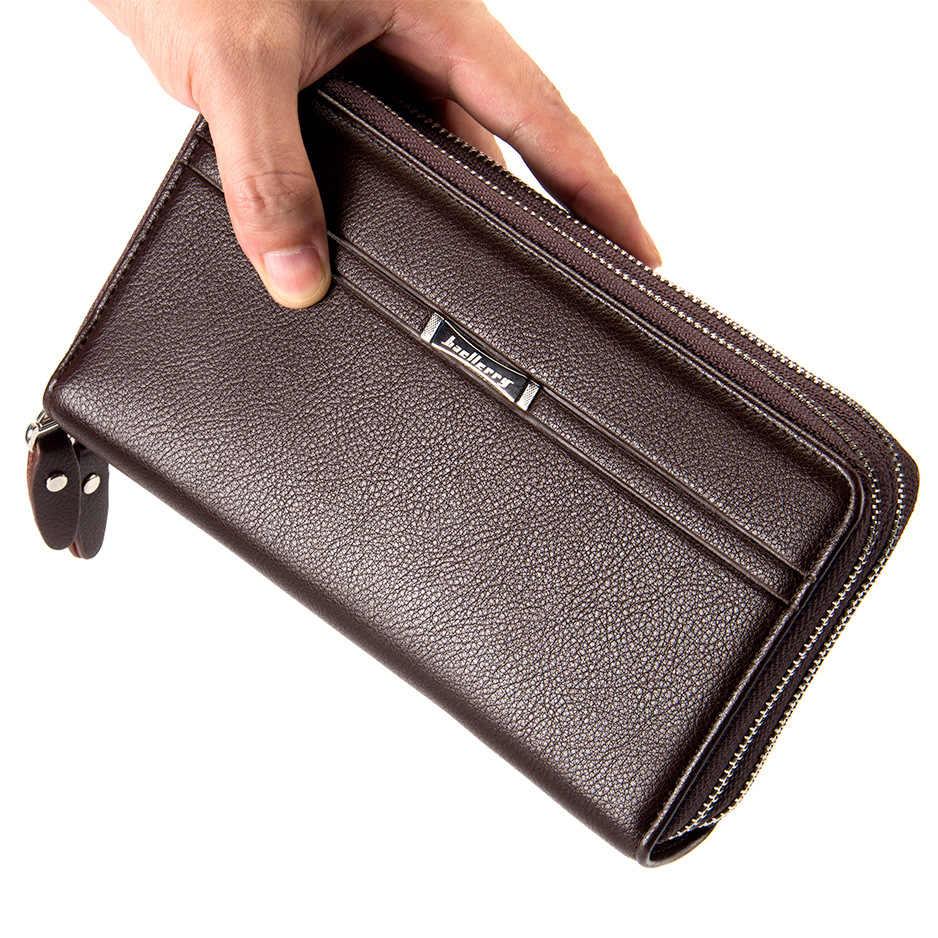 Кошелек для денег большой емкости, мужской кошелек с двойной молнией, кошелек для монет, держатель для карт, мужские длинные сумочки, клатч, деловой кошелек, Новинка