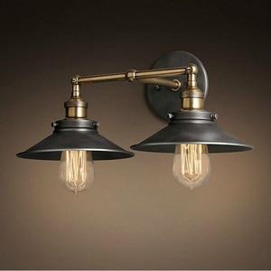 Image 2 - 現代ヴィンテージロフト金属ダブルヘッドウォールライトレトロ真鍮壁ランプカントリースタイル E27 エジソン燭台ランプ器具 110 ボルト/220 ボルト